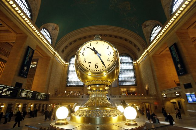 The Grand Central Terminal Clock sits above the information booth at the center of the main concourse one day before the Grand Central Terminal Centennial Celebration in New York City on January 31, 2013. On March 19, 1918, the U.S. Congress passed the Standard Time Act, which authorized the Interstate Commerce Commission to establish standard time zones. File Photo by John Angelillo/UPI