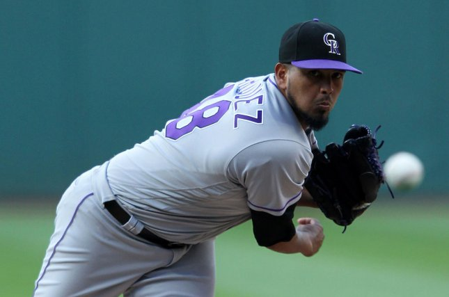 German Marquez and the Colorado Rockies host the Milwaukee Brewers in the NDLS on Sunday. Photo by Aaron Josefczyk/UPI