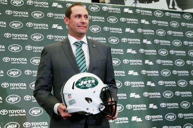 New York Jets head coach Adam Gase is also the acting general manager of the franchise after general manager Mike Maccagnan was fired Wednesday. File Photo by John Angelillo/UPI