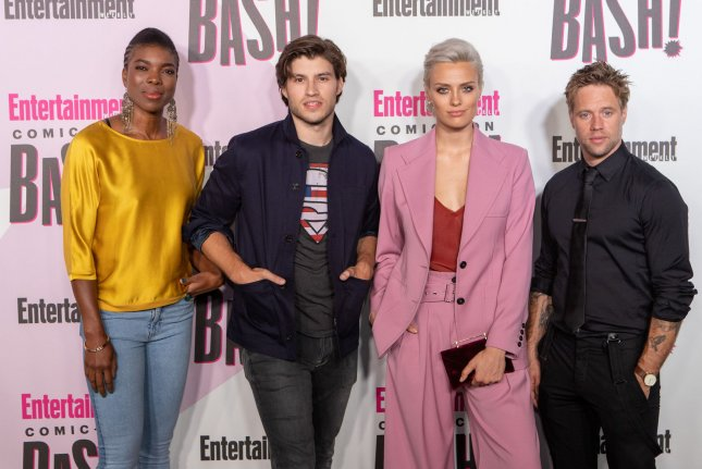 Krypton stars Ann Ogbomo, Cameron Cuffe, Wallis Day and Shaun Sipos attend Entertainment Weekly's Comic-Con closing night celebration party in San Diego on July 21. The show is getting a spin-off called Lobo. File Photo by Howard Shen/UPI