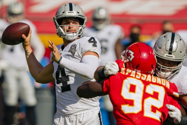 Las Vegas Raiders quarterback Derek Carr (4) is one of my top waiver-wire additions for Week 8. File Photo by Kyle Rivas/UPI