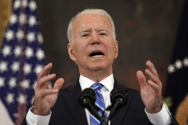 President Joe Biden delivers remarks on the economic recovery in the State Dining Room at the White House in Washington on Monday. Photo by Yuri Gripas/UPI