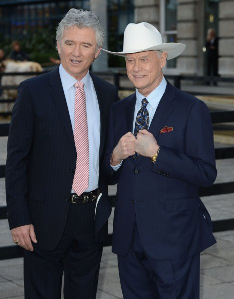 American actors Patrick Duffy and Larry Hagman attend the launch of Channel 5's Dallas at Old Billingsgate in London on August 21, 2012. UPI/Rune Hellestad