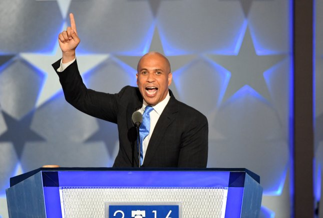 New Jersey Senator Cory Booker, pictured speaking on day one of the Democratic National Convention on July 25, 2016, is expected to become the first U.S. senator to testify against another senator during a hearing to become a member of the president's cabinet. Booker said questionable statements and ideas about race should disqualify Sen. Jeff Sessions from becoming attorney general. File photo by Pat Benic/UPI