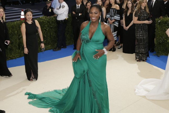 Serena Williams attends the Costume Institute Benefit at the Metropolitan Museum of Art on May 1. The tennis pro shared a series of snapshots Tuesday after celebrating her pregnancy in Miami. File Photo by John Angelillo/UPI