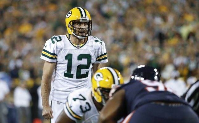Green Bay Packers quarterback Aaron Rodgers shouts out a play during a game against the Chicago Bears in September. Photo by Kamil Krzaczynski/UPI