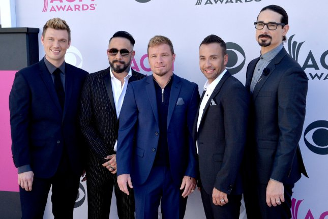 Nick Carter (L), pictured with the Backstreet Boys, voiced the group's love for South Korean boy band BTS. File Photo by Jim Ruymen/UPI