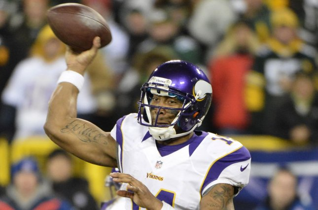 Former Minnesota Vikings quarterback Joe Webb throws during the fourth quarter against the Green Bay Packers on January 5, 2013 at Lambeau Field during the NFC Wild Card round in Green Bay, Wisconsin. File photo by Brian Kersey/UPI