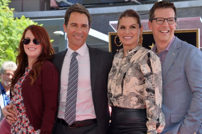Will & Grace stars (L-R) Megan Mullally, Eric McCormack, Debra Messing and Sean Hayes. The group stars in a new clip from Season 10 of the comedy. Photo by Jim Ruymen/UPI
