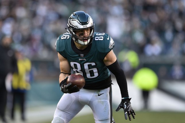 Philadelphia Eagles tight end Zach Ertz had a career-high 116 catches for 1,163 yards and eight scores in 16 starts during his 2018 campaign. File Photo by Derik Hamilton/UPI