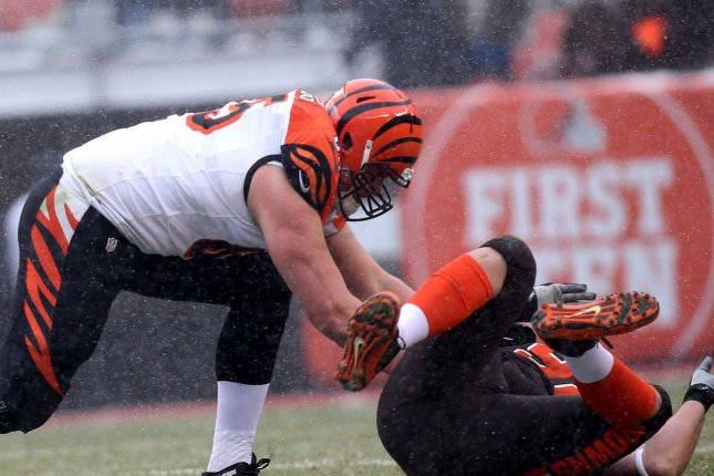 Cincinnati Bengals guard Clint Boling (L) was a fourth-round pick in 2011. File Photo by Aaron Josefczyk/UPI