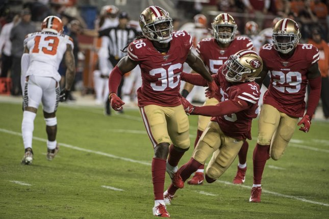 The San Francisco 49ers held the Cleveland Browns to 102 rushing yards and 78 passing yards in a Monday Night Football win in San Francisco. Photo by Terry Schmitt/UPI