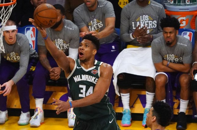 Milwaukee Bucks star forward Giannis Antetokounmpo suffered the knee injury during Friday's loss to the Los Angeles Lakers. Photo by Jon SooHoo/UPI