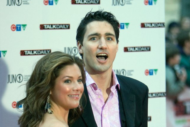 Canadian Prime Minister Justin Trudeau and his wife, Sophie Trudeau, are in self-isolation after Sophie Trudeau's test results came back positive Thursday for COVID-19. Photo by Heinz Ruckermann/UPI
