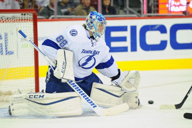 Tampa Bay Lightning goalie Andrei Vasilevskiy, shown Nov. 27, 2015, made a playoff career-best 42 saves in the Lightning's Game 2 win over the Montreal Canadiens on Wednesday. File Photo by Mark Goldman/UPI