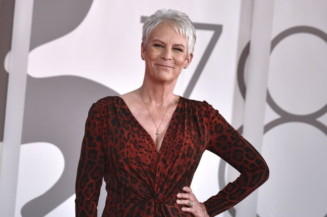 Jamie Lee Curtis channeled her mom Janet Leigh's Psycho character, Marion Crane, for the premiere of Halloween Kills. Photo by Rocco Spaziani/UPI