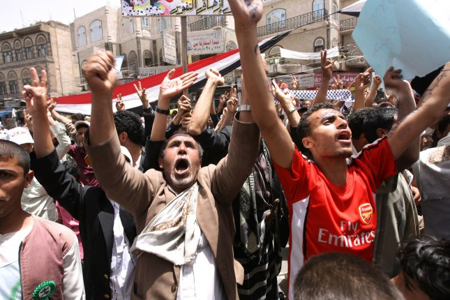 Yemeni anti-regime protesters shout during a rally calling for the ouster of President Ali Abdullah Saleh in Sanaa April 5, 2011. UPI\Mohammad Abdullah...