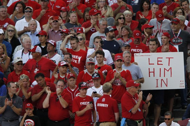 Cincinnati Reds fans show their support for Pete Rose during the 86th All-Star Game at Great American Ball Park in Cincinnati, Ohio on July 14, 2015. Photo by John Sommers II/UPI