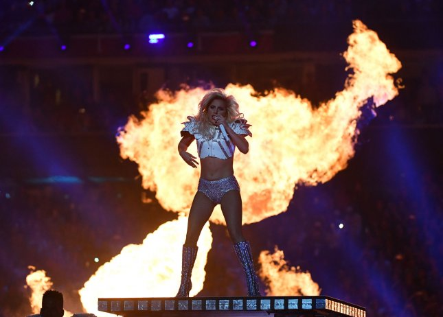 Lady Gaga performs during the halftime show at Super Bowl LI at NRG Stadium in Houston on February 5, 2017. Photo by Kevin Dietsch/UPI