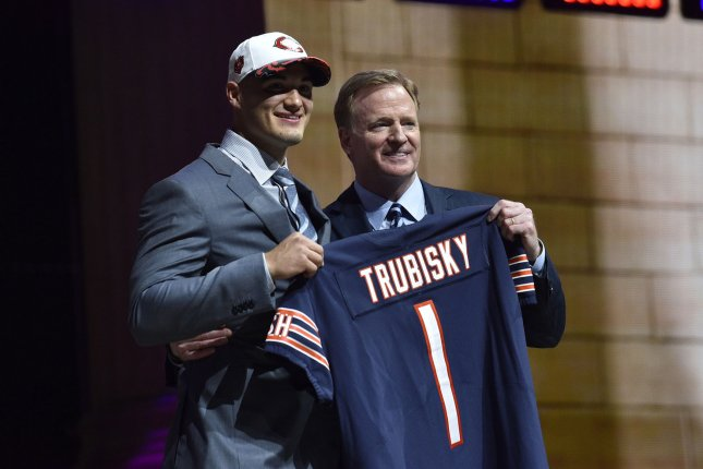 Mitchell Trubisky poses for photographs with NFL Commissioner Roger Goodell after being selected by the Chicago Bears as the second overall pick in the 2017 NFL Draft at the NFL Draft Theater in Philadelphia, PA on April 27, 2017. Photo by Derik Hamilton/UPI