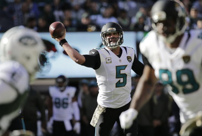 Blake Bortles and the Jacksonville Jaguars square off with the Houston Texans on Sunday. Photo by John Angelillo/UPI