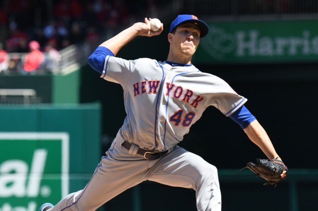 New York Mets starting pitcher Jacob deGrom makes a delivery in the first inning of against the Washington Nationals during the home opener of the Nats on April 5 at Nationals Park in Washington, D.C. Photo by Pat Benic/UPI