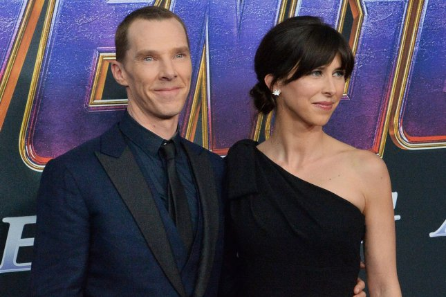 Benedict Cumberbatch (L), pictured with Sophie Hunter, will star in an adaptation of the Thomas Savage novel The Power of the Dog. File Photo by Jim Ruymen/UPI