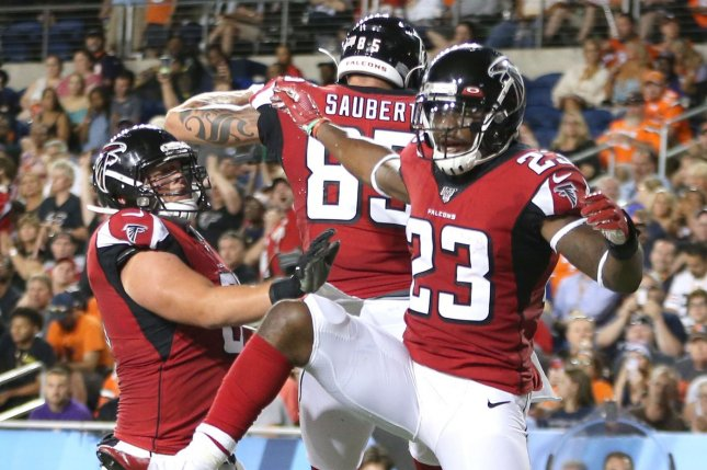 Former Atlanta Falcons tight end Eric Saubert (C) has yet to score a touchdown in his NFL career. The Drake product was a fifth-round pick in the 2017 NFL Draft. Photo by Aaron Josefczyk/UPI