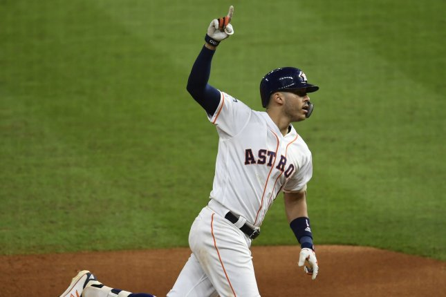Houston Astros shortstop Carlos Correa smashed his second career walk-off home run in the postseason during Thursday's game against the Tampa Bay Rays. File Photo by Trask Smith/UPI