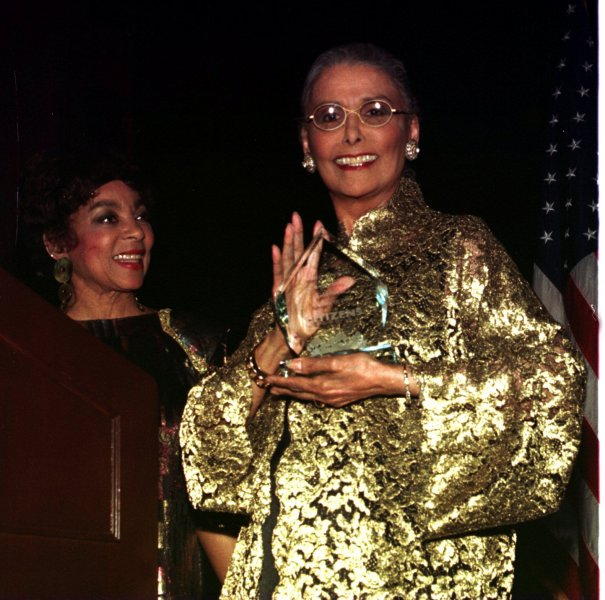 NYP97021904-19FEB97-NEW YORK,NEW YORK,USA: Actress Ruby Dee looks on after presenting Lena Horne (right) with the Marietta Tree Award for Public Service at February 18th award ceremonies at the Waldorf Astoria Hotel. UPI ep/Roger Celestin