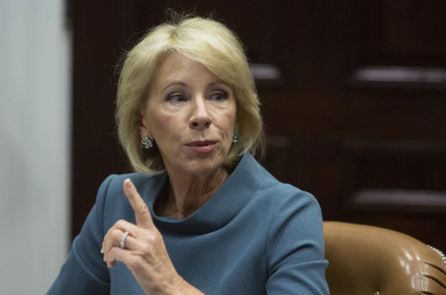U.S. Secretary of Education Betsy DeVos said a school safety commission won't study gun violence in schools. File Photo by Chris Kleponis/UPI