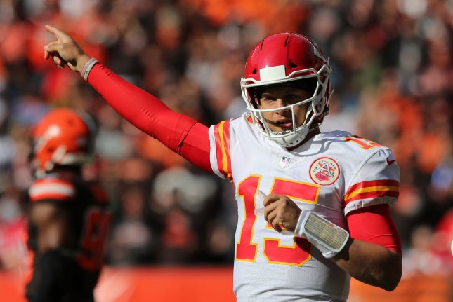Kansas City Chiefs quarterback Patrick Mahomes gestures during the first half against the Cleveland Browns on Sunday at FirstEnergy Stadium in Cleveland, Ohio. Photo by Aaron Josefczyk/UPI
