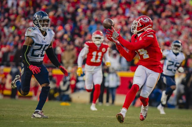 Kansas City Chiefs wide receiver Sammy Watkins (14) had 52 catches for 673 yards and three scores in 14 games this season. File Photo by Kyle Rivas/UPI
