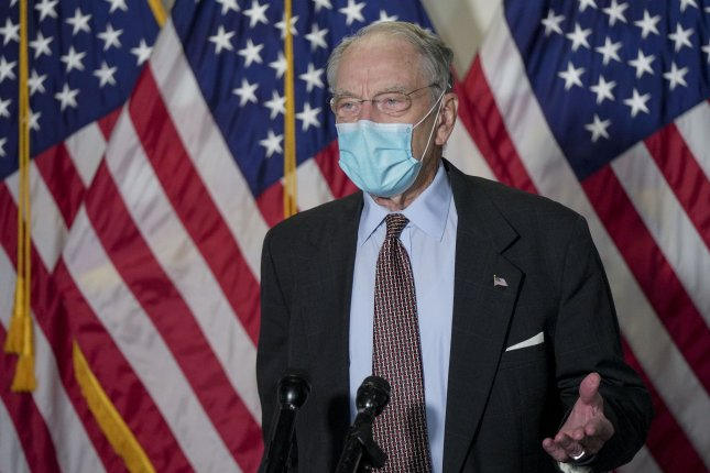 U.S. Sen. Chuck Grassley, R-Iowa, announced earlier Tuesday that he was quarantining after being exposed to COVID-19. He tested positive later that day. Photo by Leigh Vogel/UPI