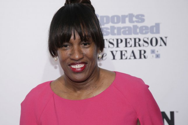 Jackie Joyner-Kersee arrives on the red carpet at the Sports Illustrated Sportsperson of the Year Ceremony 2016 at Barclays Center on December 12, 2016, in New York City. On August 2, 1992, she became the first woman to win consecutive Olympic gold medals in the heptathlon. File Photo by John Angelillo/UPI