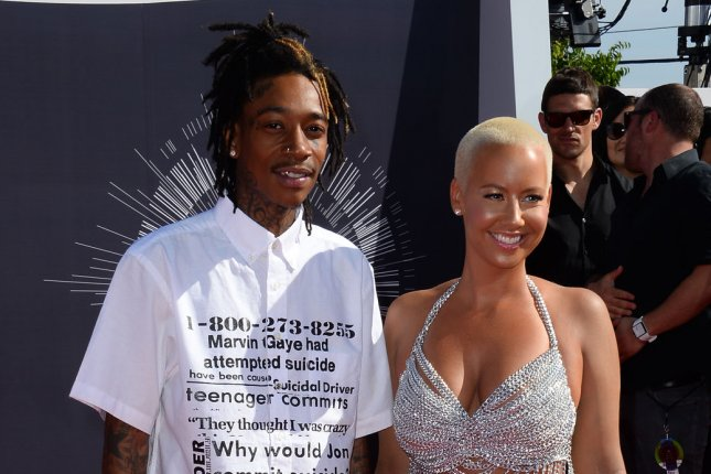 Wiz Khalifa (L) and Amber Rose at the MTV Video Music Awards on August 24, 2014. File photo by Jim Ruymen/UPI