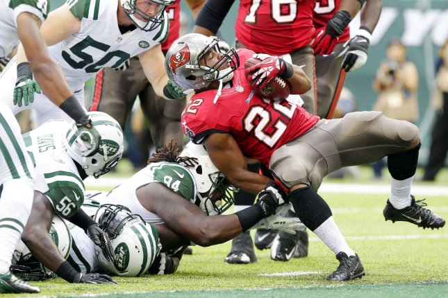 Tampa Bay Buccaneers RB Doug Martin expects to miss 3 weeks with a hamstring injury. File photo by John Angelillo/UPI