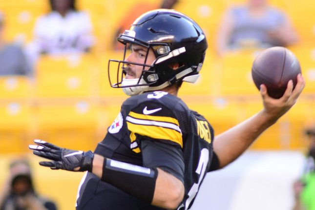 Pittsburgh Steelers quarterback Landry Jones (3) steps back to pass in the first quarter against the Philadelphia Eagles during a preseason game at Heinz Field in Pittsburgh on August 18, 2016. Photo by Archie Carpenter/UPI