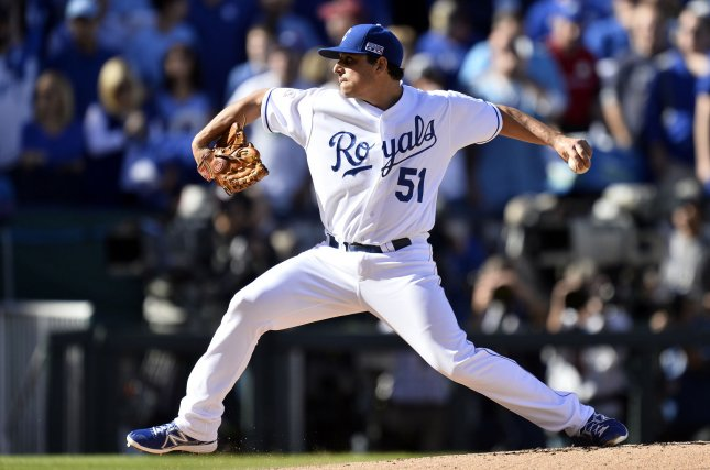Jason Vargas and the Kansas City Royals held off the Toronto Blue Jays on Thursday. Photo by Brian Kersey/UPI