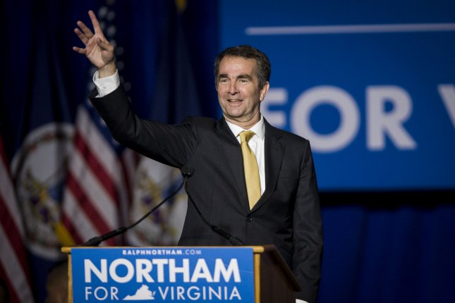 Governor-elect Ralph Northam, D-Va., arrives to speak at George Mason University in Fairfax, Va., after winning the election Tuesday. Photo by Pete Marovich/UPI