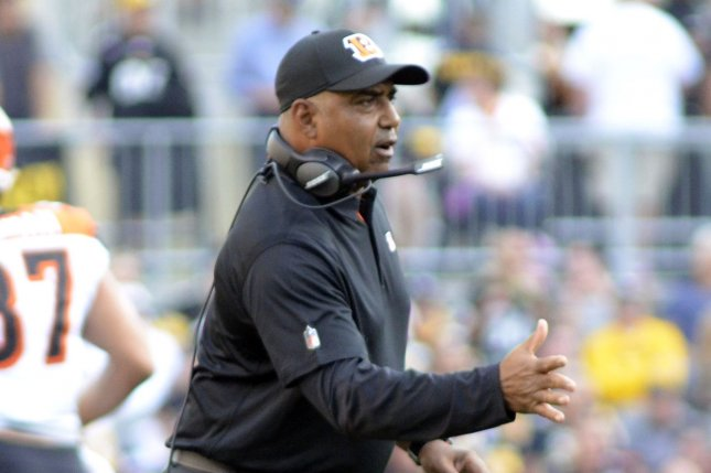 Cincinnati Bengals head coach Marvin Lewis celebrates his team touchdown in the second quarter at Heinz Field in Pittsburgh on October 22, 2017. File photo by Archie Carpenter/UPI