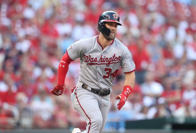 Bryce Harper and the Washington Nationals take on the New York Mets on Sunday. Photo by Bill Greenblatt/UPI
