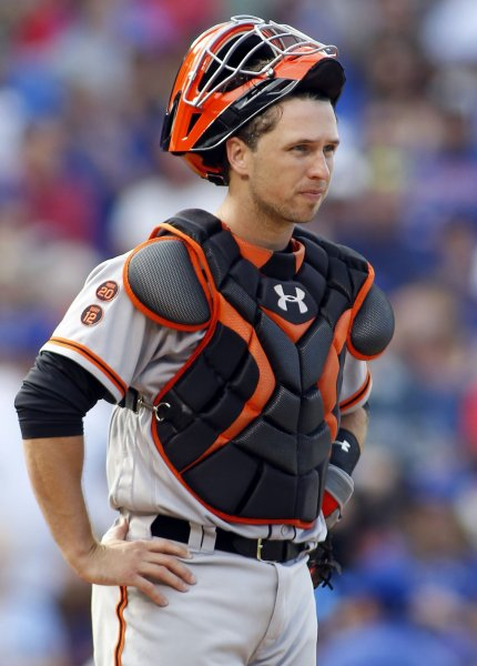 San Francisco Giants catcher Buster Posey is out for the season. Photo by Frank Polich/UPI