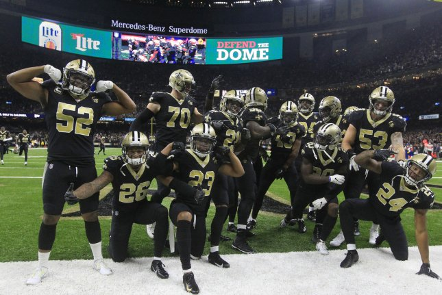 The New Orleans Saints defense celebrate after an interception against the Cleveland Browns on September 16 at the Mercedes-Benz Superdome in New Orleans. Photo by AJ Sisco/UPI