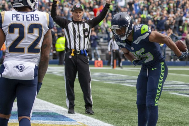 Seattle Seahawks wide receiver Tyler Lockett (16) scored the first touchdown of the game during a Week 10 loss to the Los Angeles Rams on Sunday in Los Angeles. Photo by Jim Bryant/UPI