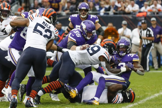 Minnesota Vikings running back Dalvin Cook (R) entered Week 4 with an NFL-best 375 rushing yards. The Chicago Bears held the Vikings star to 35 yards on the ground during a 16-6 win Sunday in Chicago. Photo by Kamil Krzaczynski/UPI