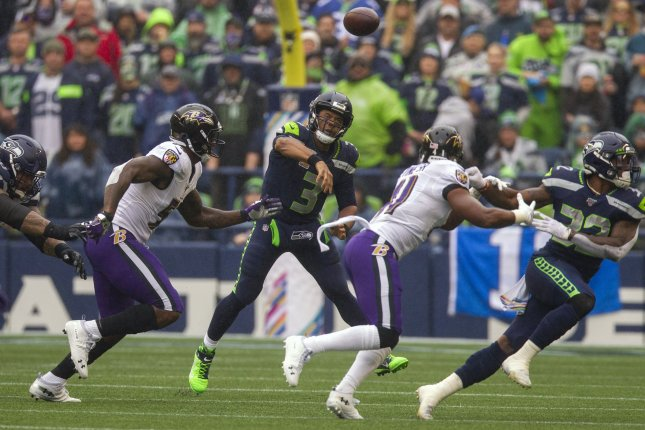 Seattle Seahawks quarterback Russell Wilson (3) has a 15 to 1 touchdown to interception ratio this season. Photo by Jim Bryant/UPI