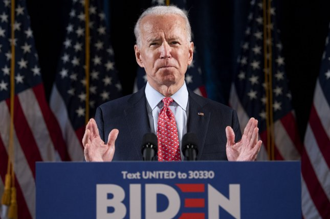 Former Vice President Joe Biden, who is running against President Donald Trump, is urging stronger action to contain the coronavirus. Photo by Kevin Dietsch/UPI