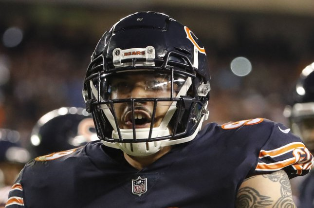 Former Chicago Bears defensive end Aaron Lynch retired in August due to personal reasons, but was reinstated on Wednesday. File Photo by Kamil Krzaczynski/UPI
