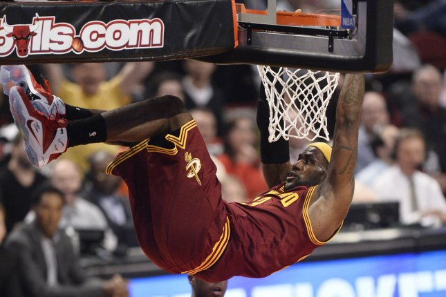 Cleveland Cavaliers forward LeBron James dunks during the second quarter against the Chicago Bulls at the United Center in Chicago on October 31, 2014. UPI/Brian Kersey